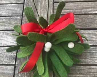 Felt Mistletoe Kissing Ball, Felt Mistletoe, Felt Kissing Ball, Christmas Decor, Mistletoe,Holiday Decor, Christmas, Felt Christmas, Holiday