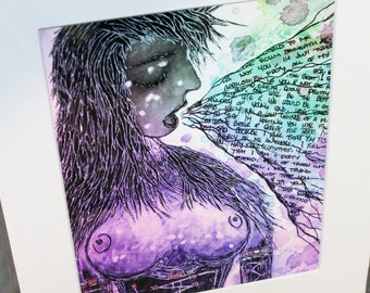 "Beautiful Words, Fine Art, Print, 11""x14"", Art, Poetry, Pin Up, Word Vomit, Purple, Green, Erotic"
