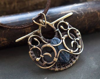 Wire wrapped necklace // Wire wrapped pendant // Pietersite wire wrapped pendant // Pietersite neckalce // Pietersite jewelry // Artarina