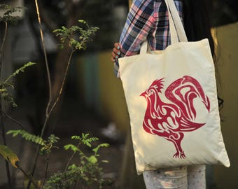Unique Gifts_Hand-painted Handbag_rooster