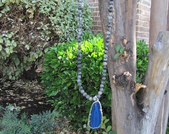 "Long 20 1/2"" necklace with blue rock"