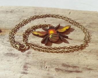 Honey Bee necklace Bee necklace. Bumble Bee jewellery. Bee jewellery. Beekeeping beekeeper accessory gift bees gardening jewellery bees