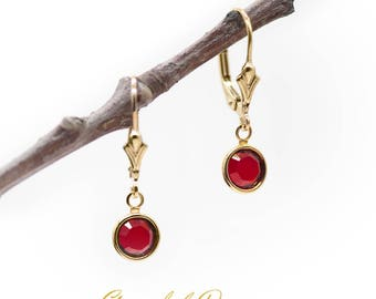 Swarovski Red Channel Drop Earrings
