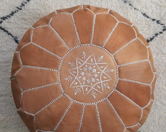 tan brown leather pouf,moroccan handcrafted leather pouf, ottoman leather pouf