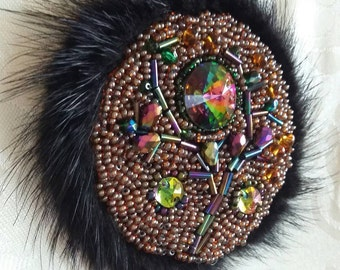 Brooch with natural fur and tree from Swakovski beads