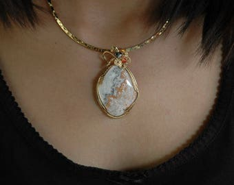Awesome Crazy Lace Agate Wrapped in 14K Gold-Filled Wire P27