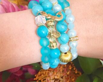 Mermaid Stack Bracelets Beaded Bracelets Layering Bracelets Stretch Bracelets
