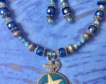 Blue anchor necklace set