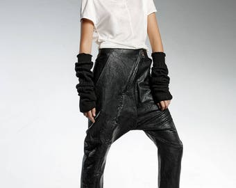 Black Faux LEATHER Modern Trousers - High Quality