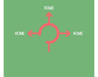 """French poster - """"all the way lead to Rome"""""""