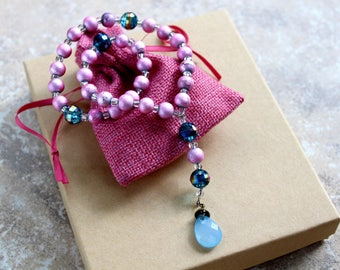 Pink and Blue Prayer Beads