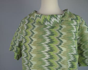 60s Plus Size Mod Mini Dress - Green Zigzag Print - UK size 22 - 24