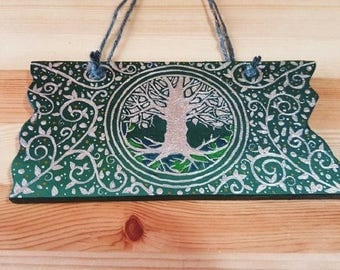 TREE OF LIFE Wooden Wall Plaque Hand-painted Gift Pagan Druid Wicca