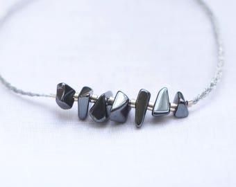 Bracelet, HEMATITE, Silver 925 & wire braid Arrgenté