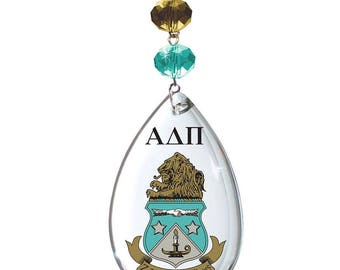 ADP Logo Crystal - Crest- Alpha Delta Pi Sorority MAGNETIC ORNAMENT/Adp Decor/Adp Ornament/Alpha Delta Pi Dorm Room Decor
