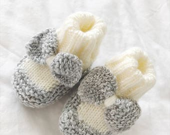 Gray/Silver Baby Booties | Knitted Baby Booties | Baby Girl Booties with Bow | Hand Knit Color Block Baby Booties