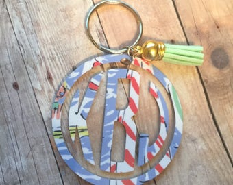 Monogrammed Keychain, Circle Keychain, Lilly Pulitzer Inspired, Initials
