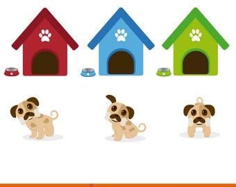 Children's illustration, children's illustration dogs, vector illustration puppies, set of puppies in different poses