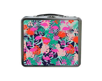 Flamingo Lunch Box, Tropical Lunch Box, METAL Lunch Box, Pink Lunch Box, Green Lunch Box, Lunch Box for Women, TIN Lunch Bag, Tropical Print