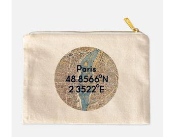 Paris Cosmetic Bag, Paris Makeup Bag, Paris Make Up Bag, Cotton Canvas Cosmetic Bag, Vintage Paris Map Makeup Bag, Paris Gift, 9.5 x 7