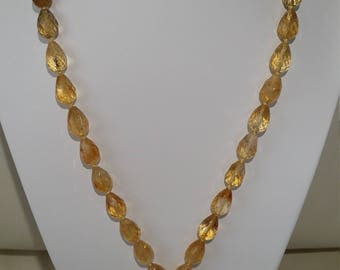 Citrine Necklace with Golden Rutilated Quartz Pendant
