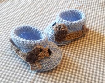 Handmade Baby Gift |  Crochet Baby Booties | Sausage Dog Booties | Handmade | Baby Shower Gift | New Baby | Baby Boy | Baby  | Unisex