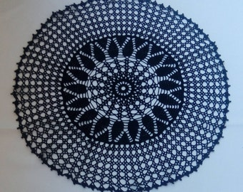 """Black large crochet doily 24"""" - round tablecloth-crochet doilies - Home decor - black crochet tablecloth - Handmade tablecloth"""