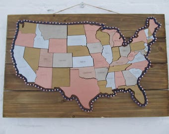 United States Map - Wood and String Art