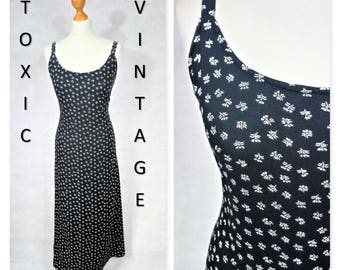 Sale! VINTAGE 1990's Black & White Ditsy FLORAL Print MIDI Dress. Uk Size 12. Grunge, Indie, Rock n Roll, Nineties, Pretty, Elegant, Casual