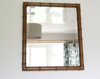 Vintage Faux Bamboo Wooden Framed Bevelled Wall Mirror, Excellent Condition