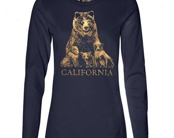 Wildlife tshirt etsy womens grizzly bear and cubs long sleeve t shirt 10 donated to animal publicscrutiny Image collections