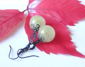 Vintage earrings,dandelion,sand dandelion,air earrings,ivory earrings,filigree earrings,magic earrings,dandelion accessories,dandelions