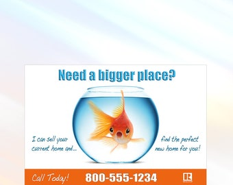 Goldfish - Real Estate Postcard - 6x9 - Real Estate Marketing Postcard - Color Front Only - Customization Available
