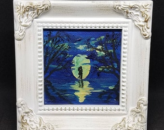 Moon Light - Original Acrylic Mini Painting on Canvas with Frame