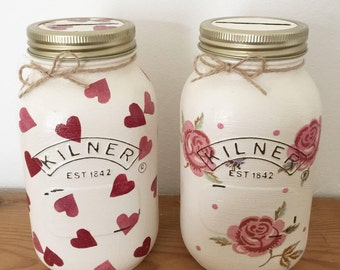 Handmade money jars with emma bridgewater pattern hearts and rose & bee