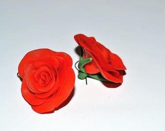 Polymer Clay Earings Rose Shape Red. Dangel earrings Designer jewelry