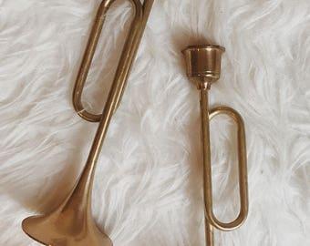 Set of two vintage brass trumpet candlestick holders   set of two brass candlestick holders   vintage brass midcentury candlesticks