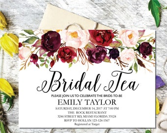 Bridal Tea Party Invitation, Editable Bridal Shower Invite Template, Boho Bridal Tea, Bridal Tea Party, INSTANT DOWNLOAD, Bridal Tea 06
