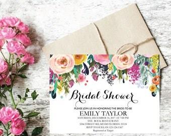 Bridal Shower Invitation, Printable Bridal Shower, Boho Bridal Shower, Instant Digital Download File, Flower Bridal Shower, Floral Bridal