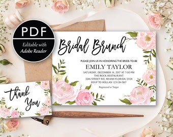 Bridal Brunch Invitation, Watercolor bridal invite, Floral Bridal Shower Card, Instant Digital Download File, Flower Bride DIY, Brunch PDF04