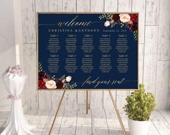 Navy wedding seating chart, Wedding seating chart poster, Wedding Seating Chart, Gold wedding seating chart, Seating chart template, #161