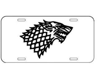 Game of Thrones - Stark Wolf License Plate - Vinyl