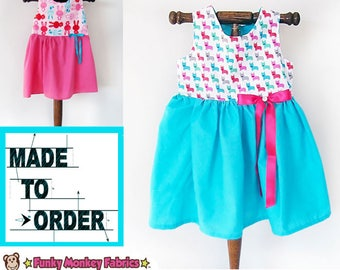MADE TO ORDER - Pick your fabric-New Born to size 12 - Cotton girl dress, pearl snap, summer cotton dress. custom girls cotton dress.