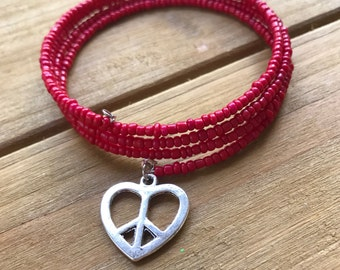 Beaded Peace Heart Bracelet