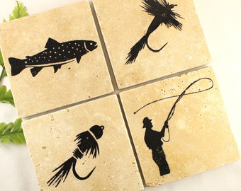 FLY FISHING COASTERS | Fly Fishing decor | Fly Fishing flies | Fly fisherman gift | Fly fishing gifts | Fishing gift for him | Lodge Decor