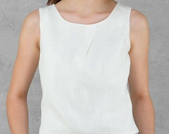 Pure White LINEN blouse - made in Europe - Summer garment