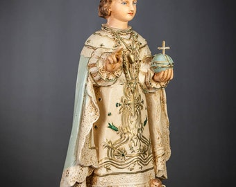 "Infant Jesus of Prague Statue | Santo Nino Figure | Plaster Child Christ Figurine | Vintage Jesus de la Praga | Prazske Jezulatko |17"" Large"