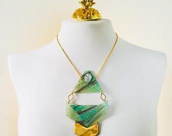 Primitive triangle necklace - Arrows&geometrics shapes festival - Triangles geometric necklace woman - Bohemian gypsy - Festival neck piece