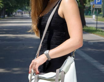 Large leather bag, Large zipper tote, Leather Laptop bag, Leather cross body tote, Supple white bag, hobo bag, leather purse - NAPOLI Bag