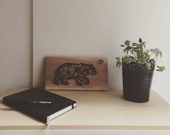 Geometric bear thread stretched on wood, geometric bear string art, nail art, wall decor animal wood, table gift, gift idea